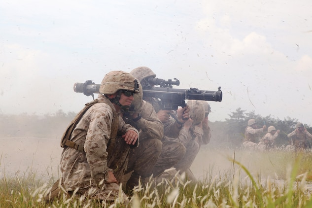 Combat engineers fire the shoulder-launched multipurpose assault weapon during the final day of a two-day weapons training event. The Marines are with 9th Engineer Support Battalion, 3rd Marine Logistics Group, III Marine Expeditionary Force.