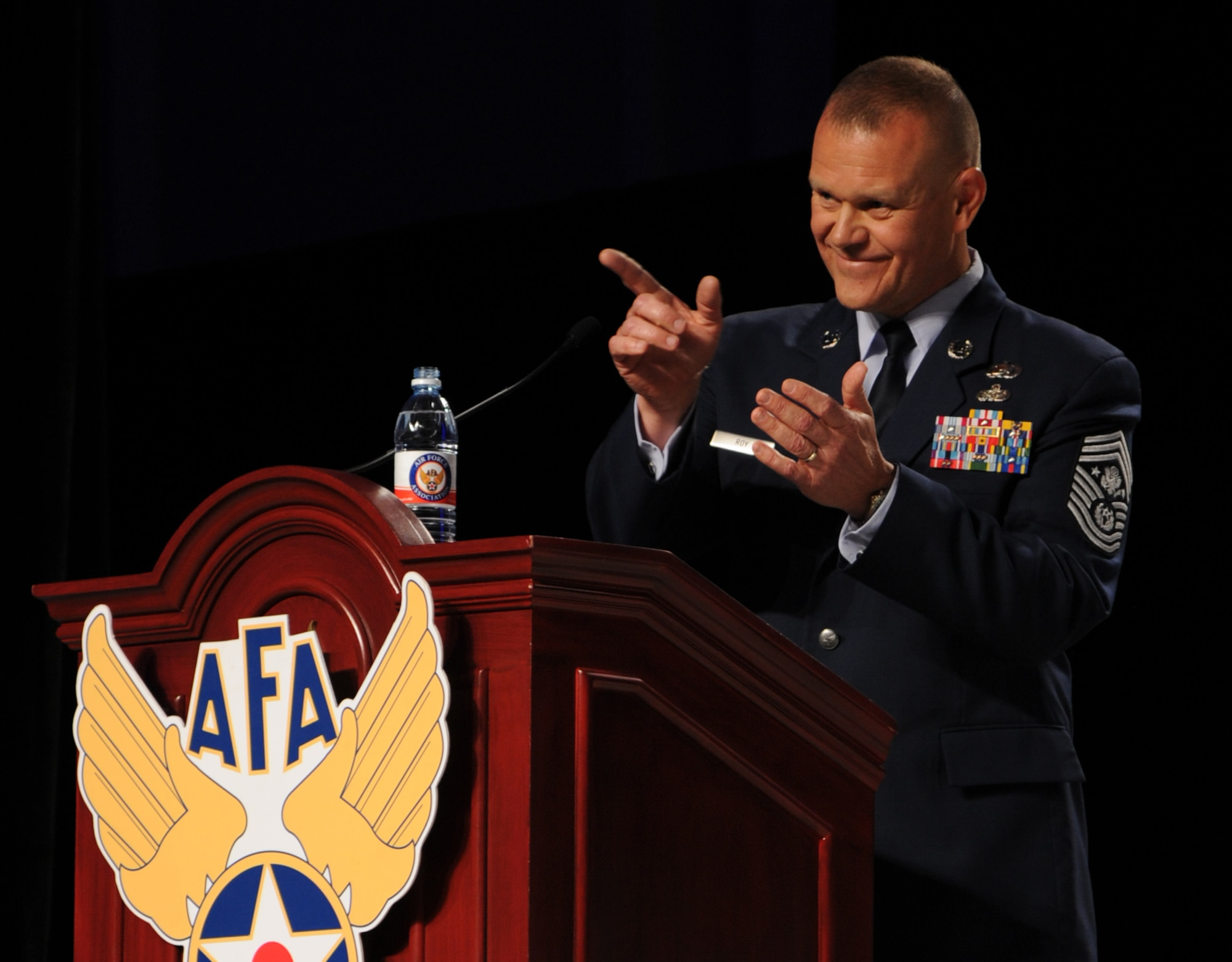 Chief Master Sgt. of the Air Force James A. Roy speaks during a banquet for the 12 Outstanding Airmen of the Year at the 2012 Air Force Association's Air and Space Conference and Technology Exposition in Washington, D.C., Sept. 17, 2012. Roy represents the highest enlisted level of leadership and, as such, provides direction for the enlisted force and represents their interests. (U.S. Air Force photo/Airman 1st Class Aaron Stout)