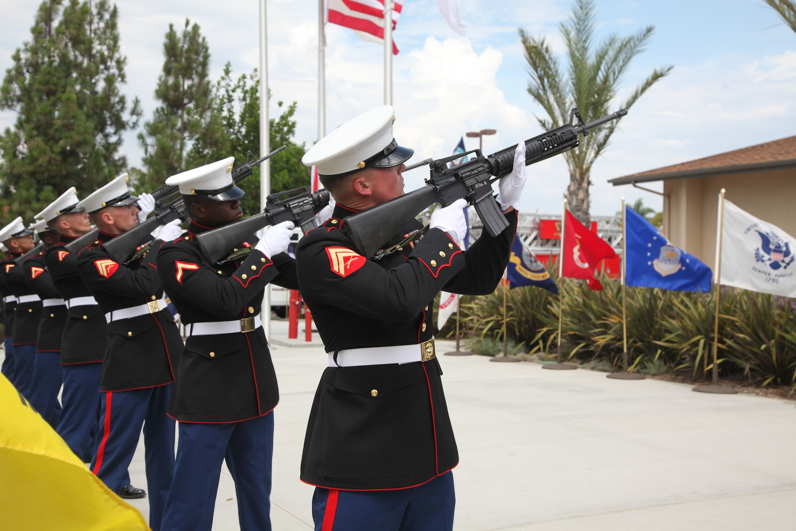 Marines with Combat Logistics Battalion 13 conduct a three-volley salute at Patriot Day 2012, a 9/11 remembrance event, held at Faith Lutheran Church, Sept. 9.