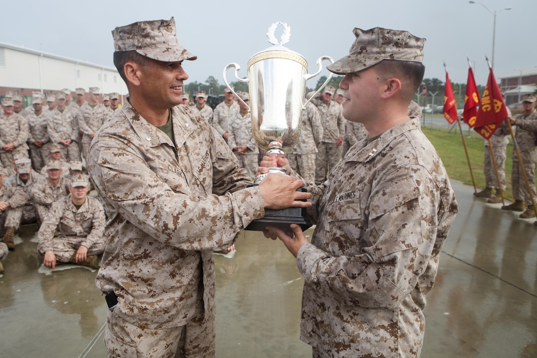 Lieutenant Col. Kevin Clark of Smithville, Mo., and the commanding officer for 2nd Battalion, 8th Marine Regiment, presents the 2/8 Olympics trophy to a representative for Headquarters and Support Company. The unit gave their weathered camouflage utilities a week-long break to carry out a battalion size Olympics promoting unit cohesion and competitive spirits.