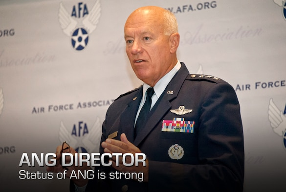 Lt. Gen. Harry M. Wyatt III, the director of the Air National Guard, addresses mission readiness and other challenges facing the ANG in future years during the Air Force Association Air and Space Conference and Technical Exposition , Washington, Sept. 18, 2012. The AFA Air and Space Conference attract the top military leaders and dignitaries worldwide bringing experts, academia, and aerospace specialists from around the word to discuss the issues facing the U.S. Air Force and aerospace community. (National Guard photo by Master Sgt. Marvin Preston)