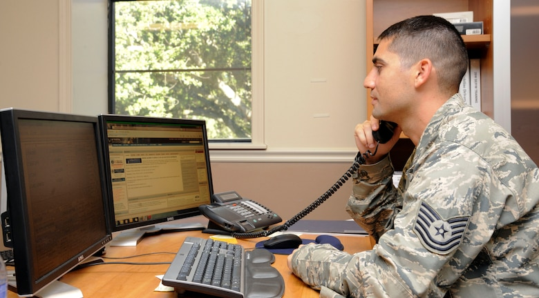 Tech. Sergeant Jeremy Gavidia, 2 BW Safety Office NCO in charge of ground safety, obtains information via phone to file a mishap report on Barksdale Air Force Base, La., Sept. 19. The Safety Office gives advice and information for commanders to use to ensure safe procedures are followed to reduce the amount of accidents throughout the base. (U.S. Air Force photo/Airman 1st Class Andrew Moua)(RELEASED)