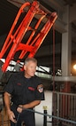 Randall's Island, NEW YORK – Firefighter and instructor with the New York City Fire Department, Dave Raynor, sets up the rope systems for the Marines to do high angle rescue training later in the morning. Raynor has been with FDNY for more than 28 years and continuously conducts advanced rope training across the country.