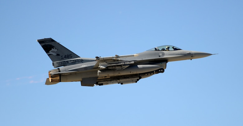 An F-16 Fighting Falcon assigned to the South Dakota Air National Guard's 175th Fighter Squadron thunders skyward at Ellsworth Air Force Base, S.D., Sept. 18, 2012. The 114th Fighter Wing's F-16s shared the flightline with Ellsworth's resident B-1 bombers Sept. 17 to 21. (U.S. Air Force photo by Airman 1st Class Hrair H. Palyan/Released)