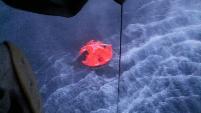 The 129th Rescue Wing responded to Coast Guard District 11 to save three people aboard a boat taking on water 140 miles off the coast from Morro Bay, Calif., Sept. 20, 2012. Aircrews and personnel prepped an HH-60G Pave Hawk rescue helicopter, an MC-130P Combat Shadow and a pair of highly trained pararescuemen, then quickly launched the life saving mission. Once on scene two pararescuemen rendezvoused with the three patients who had abandoned the vessel. They were all hoisted from a life raft and taken to Moffett Federal Airfield where Santa Clara EMS ambulances were waiting. All patients are reportedly stable. (Photo courtesy of Tech. Sgt. Jimmy Ford)