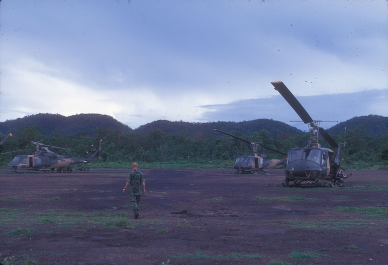 On alert at Ban Don, South Vietnam, in July 1970. From locations along the borders with Cambodia and Laos, the US Air Force helicopters covertly inserted reconnaissance teams, which included local peoples like the Hmong, along the Ho Chi Minh Trail. (U.S. Air Force photo)
