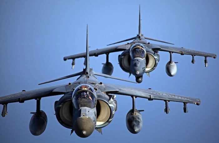 AV-8 Harriers with Marine Medium Tiltrotor Squadron 261 (Reinforced), 24th Marine Expeditionary Unit, fly in formation after conducting aerial refueling training operations, Sept 23. The training consisted of MV-22B Ospreys and AV-8B Harriers conducting aerial refueling with the 24th MEU's KC-130J Hercules aircraft to practice the skills needed for long-range flight operations.  The 24th MEU is deployed with the Iwo Jima Amphibious Ready Group as a theater reserve and crisis response force for U.S. Central Command in the U.S. Navy's 5th Fleet area of responsibility.