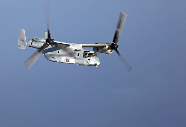 An MV-22B Osprey with Marine Medium Tiltrotor Squadron 261 (Reinforced), 24th Marine Expeditionary Unit, flies into position while conducting aerial refueling training operations, Sept 23. The training consisted of MV-22B Ospreys and AV-8B Harriers conducting aerial refueling with the 24th MEU's KC-130J Hercules aircraft to practice the skills needed for long-range flight operations.  The 24th MEU is deployed with the Iwo Jima Amphibious Ready Group as a theater reserve and crisis response force for U.S. Central Command in the U.S. Navy's 5th Fleet area of responsibility.