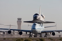 Space Shuttle Endeavour departs Edwards AFB for the final time before being flown to it's final destination in a Southern California museum.