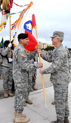 Air Force Gen. Douglas Fraser (left), commander of U.S. Southern Command, speaks to attendees of the U.S. Army South change of command ceremony between Maj. Gen. Frederick S. Rudesheim (center), the incoming commanding general of U.S. Army South, and Maj. Gen. Simeon G. Trombitas (right), the outgoing Army South commanding general, during their change of command ceremony at Joint Base San Antonio-Fort Sam Houston Sept. 14. (Photo by Eric R. Lucero, U.S. Army South Public Affairs)