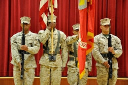 The Camp Pendleton Headquarters and Support Battalion Color Guard presents the colors for the National Anthem during the Multi-Cultural Celebration at Camp Pendleton's Pacific Views Event Center, Sept. 18.
