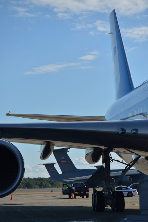 The aircraft that flies the president stayed overnight at Westover Air Reserve Base.   The VC-25A  arrived Sept.  24 after dropping off President Barack Obama in New York City for the United Nations summit. It left the next day. (Air Force photo by W.C.Pope)