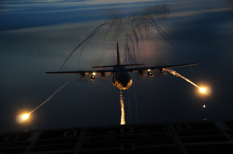 "The 107th Airlift Wing went on another night formation training mission, this time fully loaded with live flares to be used in a training scenario.  A ""Flare"" is an aerial infrared countermeasure to counter and infrared homing (heat seeking) surface-to air or air-to-air missile. Sept. 25, 2012 (U.S. Air Force Photo/Senior Master Sgt. Ray Lloyd)"