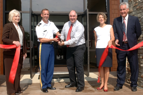 From left to right: State Senator Mae Beavers, Nashville District Commander Lt. Col. James A. DeLapp, Cordell Hull Resource Manager Mark Herd, State Representative Terri Weaver, and Smith County Commissioner Bill Woodard participate in the ribbon cutting ceremony for the new Cordell Hull Lake Visitor's Center July 20, 2012. (USACE photos by Michael Rivera)
