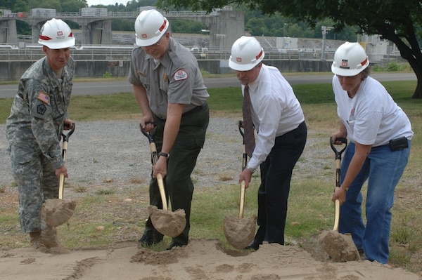 (Left to right) Lt. Col. James A. DeLapp, U.S. Army Corps of Engineers Nashville District commander; Larry Nash, Cheatham Lake resource manager; Cheatham County Mayor David McCullough; and Billie Boyd, Cheatham lockmaster; break ground for the new Resource Manager's Office and Lock Operations Center at Cheatham Lake June 18, 2012. (USACE photo by Michael Rivera)