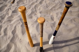 "The first ""Over the Line"" tournament was held on Camp Pendleton's Del Mar Beach, Sept. 22. Only wooden Official Softball or Official Little League bats are authorized as part of official OTL rules and regulations."