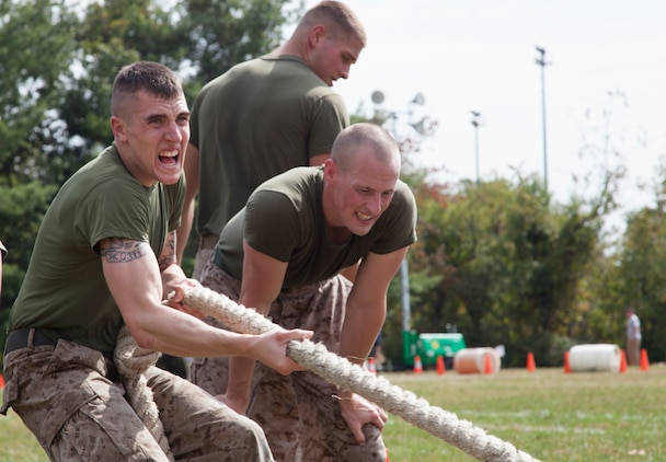 Lance Cpl. Jared Buchanan, a member of the silent drill platoon at Marine Barracks Washington, competes in the tire pull, one of the last events in the 3rd Annual Iron Man Endurance Competition at T. Howard Duckett Park here, Sept. 26. The police department hosts the event, which is attended by teams comprised of military members, firefighters and law enforcement agencies in an effort to promote unity, physical fitness and display to the community the men and women protecting them.