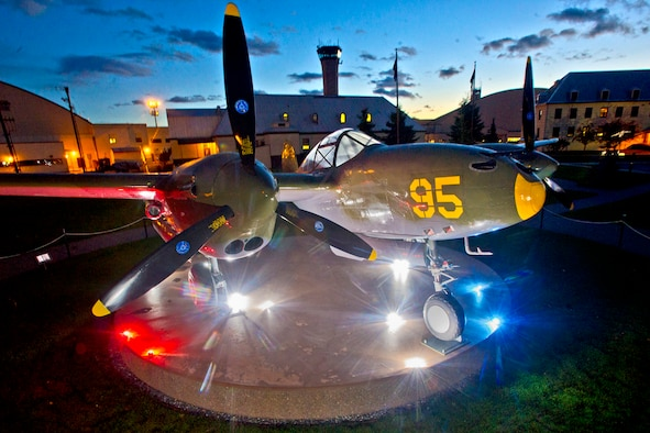 The world's only existing P-38G Lightning fighter sits on vigilant watch over JBER as a subarctic dawn rapidly approaches, Wednesday. The World War II fighter was recovered in 1998 from Attu Island. (U.S. Air Force photo/Justin Connaher)