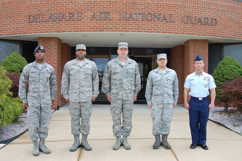 The five Delaware Air National Guard Outstanding Airmen of the Year for FY 2011. Left to right: Airman of the Year: Senior Airman Desmond Overton, 166th Security Forces Squadron, a resident of Middletown, Del.; Noncommissioned Officer of the Year: Staff Sgt. Jomarr Hatten, 166th Logistics Readiness Squadron, a resident of Newark, Del.; First Sergeant of the Year: Master Sgt. John Young, 166th Logistics Readiness Squadron, a resident of Nottingham, Pa.; Honor Guard Member of the Year: Staff Sgt. Jeffrey Lee, 166th Maintenance Squadron, a resident of New Castle, Del.; and Senior Noncommissioned Officer of the Year: Master Sgt. Samuel Lewis, 166th Logistics Readiness Squadron, a resident of Elsmere, Del. The Airmen are next to Delaware ANG HQ, New Castle ANG Base, Del., on April 15, 2012. (U.S. Air Force photo/Tech. Sgt. Benjamin Matwey)