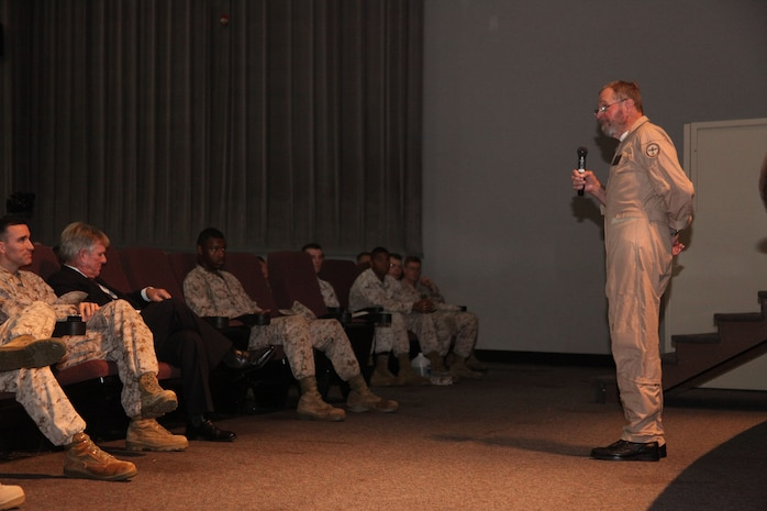 Captain James Warner speaks at the Lasseter Theatre on Marine Corps Air Station Beaufort, Sept. 21. Warner was held as a prisoner of war at Hanoi Hilton, Vietnam for five and a half years.