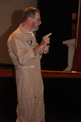 Captain James Warner shares stories in the Lasseter Theatre, Sept. 21 about his experience as a prisoner of war in Vietnam from 1967 to 1973. Warner was the camp doctor and often the only medical care available to other prisoners.