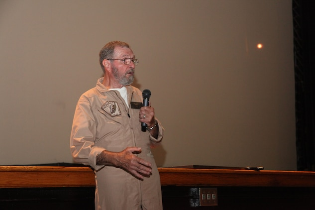 "Captain James Warner speaks to service members and several civilians on POW/MIA Recognition Day, Sept. 21 in the Lasseter Theatre.  Warner received a Silver Star, Legion of Merit and two Bronze Stars, both with a combat ""V"" for his actions while held as a prisoner of war in North Vietnam."