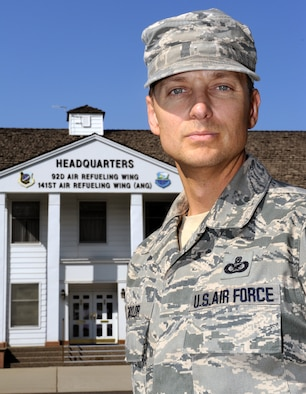 Master Sgt. Eugene Taylor, 92nd Air Refueling Wing public affairs superintendent, poses in front of Fairchild's headquarters Sept. 28, 2012 at Fairchild Air Force Base, Wash. Taylor recently attended a marriage retreat in Coeur D'Alene, Idaho, hosted by Fairchild's chapel staff, and decided to talk about his experience. (U.S. Air Force photo by Senior Airman Benjamin Stratton)