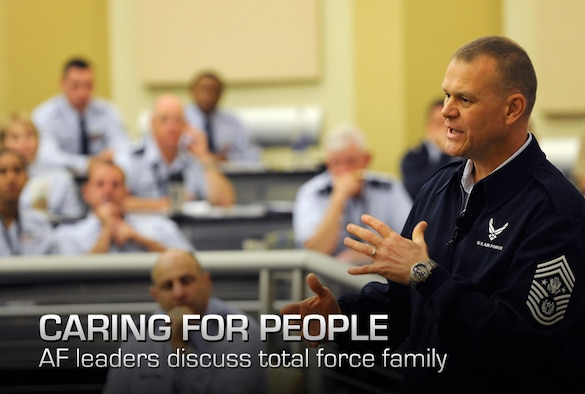 Chief Master Sergeant of the Air Force James Roy speaks at the Caring for People forum at Joint Base Andrews, Md., on Sept. 26, 2012.  This is the fourth annual forum which provides strategies for commanders, leaders and care professionals to help Airmen and their families.  (U.S. Air Force photo/Scott M. Ash)