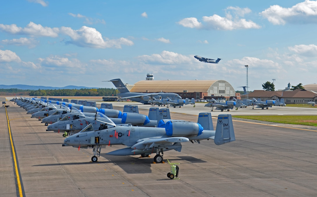 More than a dozen A-10 Thunderbolt II's, assigned to Davis-Monthan AFB, Ariz., passed through Westover as they made their way overseas. Westover's long runways, ample ramp space and geographic location, make it an ideal stop for military units on their way overseas. (U.S. Air Force photo by SrA. Kelly Galloway)