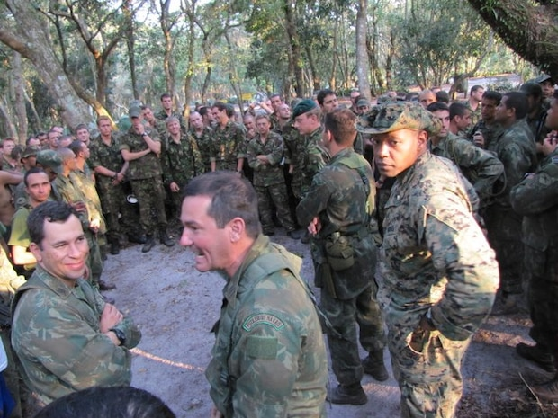 BRAZIL - Maj Bakion, an ET LATAM FAO, in the field with the Brazilian Marines and British Royal Marines