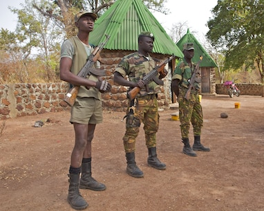Senegalese Park Rangers in the Niokolo Koba National Park. Poachers are heavily armed and have killed park rangers in the past.