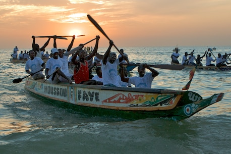 The winning moment in a Senegalese boat race captured by Marine FAO, LtCol Madden