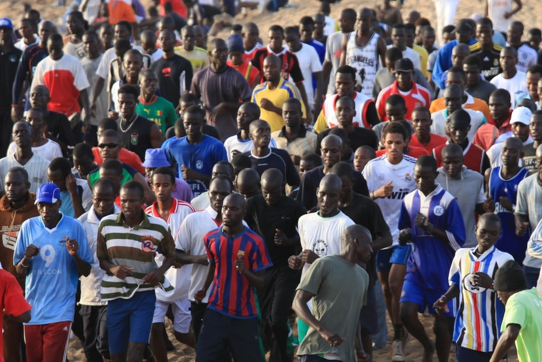 On any given evening you'll find several hundred young Senegalese men PT'ing in formation on a 100 meter stretch of beach.
