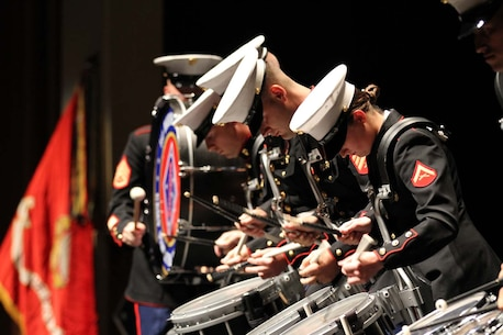"""The 1st Marine Division Band and the U.S. Navy Band bluegrass group, """"Country Currents,"""" perform during a concert at the California Center for the Arts Escondido, April 24."""