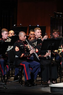 """The 1st Marine Division Band and the U.S. Navy Band bluegrass group, """"Country Currents"""", perform during a concert at the California Center for the Arts Escondido, April 24."""