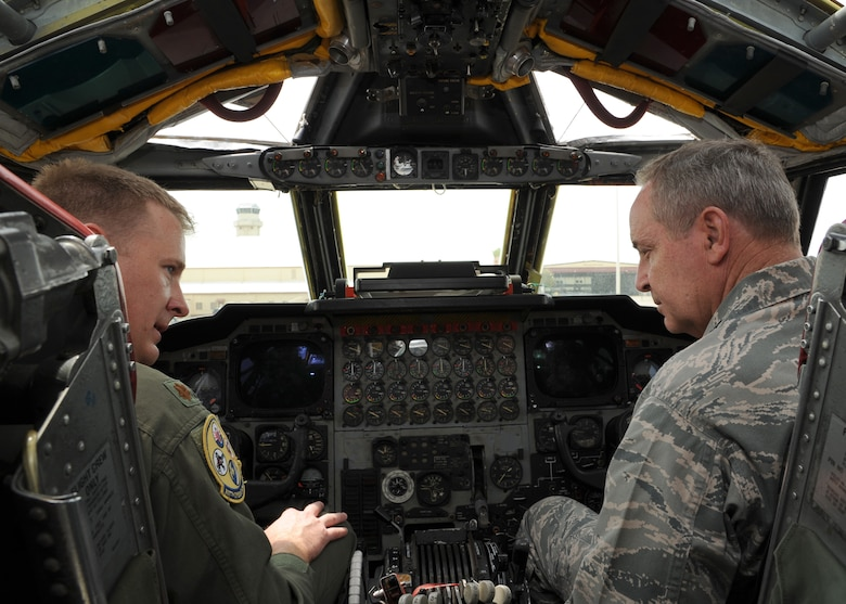 Maj. Bryan Bailey, a 307th Bomb Wing instructor pilot, sits alongside Air Force Chief of Staff Gen. Mark A. Welsh III, aboard a B-52H Stratofortress bomber, highlighting the airplane's capabilities. Welsh and Chief Master Sgt. of the Air Force James Cody met with Airmen at Barksdale Air Force Base, La., during a visit April 2-3, 2013, reinforcing the importance of Air Force Global Strike Command's mission to provide combat ready forces for nuclear deterrence and global strike operations. (U.S. Air Force photo/Airman 1st Class Joseph Pagan)