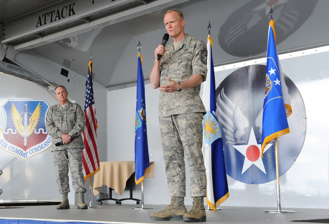 Chief Master Sgt. of the Air Force James Cody explains recent changes within the Air Force during an Airman's Call, April 1, 2013, at Moody Air Force Base, Ga. Cody, along with Air Force Chief of Staff Gen. Mark A. Welsh III, spoke about current Air Force priorities and what Airmen can expect from budget cut impacts. (U.S. Air Force photo by Airman Alexis Grotz)