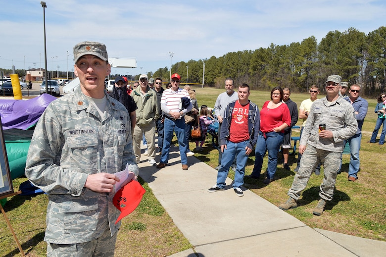 Maj. Joseph Whittington, 3rd Aerial Port Squadron commander, addresses squadron personnel and family members during a picnic March 29 celebrating the squadron's 60th Anniversary that officially occurred March 16 at Pope Army Airfield, Fort Bragg, N.C.