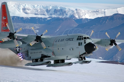 Air National Guard aircrew members utilize a jet-assisted takeoff to depart Shackleton Glacier, located in the Transantarctic Mountains 500 miles south of McMurdo Station, Antarctica, Nov 26. The aircrew conducted an open field landing to deliver a small National Science Foundation geology field camp team to the area. Assigned to the 109th Airlift Wing, Scotia, N.Y., the aircrews are flying the Antarctica missions in support of Operation Deep Freeze.
