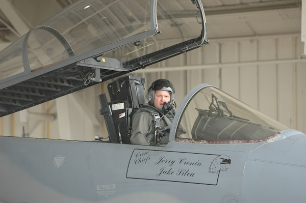 Maj. Dan Nash prepares to take off in one of the Massachusetts Air National Guard's two F-15 fighters during the final sortie flown by the 102nd Fighter Wing at Otis Air National Guard Base on Cape Cod Jan. 24.