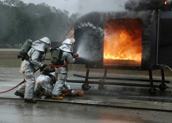 TYNDALL AIR FORCE BASE, Fla. -- Fire fighters from the 176 Civil Engineer Squadron extinguish a simulated aircraft fire during a Silver Flag training exercise here in February.The air guardsmen were part of a 175-man class of engineers and support personnel.