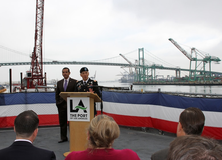 Col. Mark Toy, commander of the Los Angeles District, addresses a crowd of reporters and members of the public April 3 during a ceremony to mark the completion of the 10-year, $370 million Port of Los Angeles channel deepening project managed by Los Angeles District.