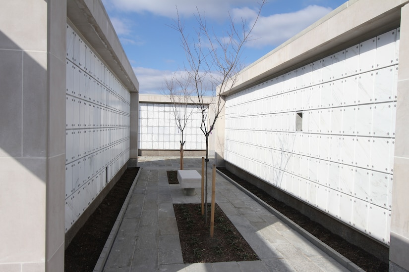 ARLINGTON, Va.  – Construction is nearing completion on the 62,820-square-foot Columbarium Court 9 here. The new $12.9-million-dollar facility will add 20,292 niche spaces and extend the availability of first inurnment to 2024.