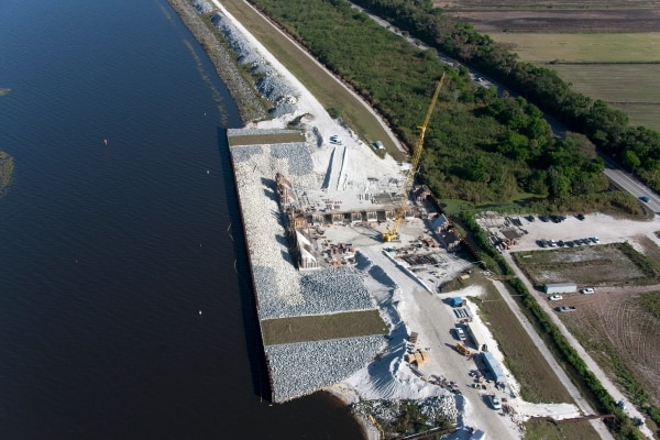 Work continues on a water control structure replacement at the Culvert 11 site south of Port Mayaca.  Jacksonville District plans to remove or replace 30 structures at Herbert Hoover Dike over the next five years.