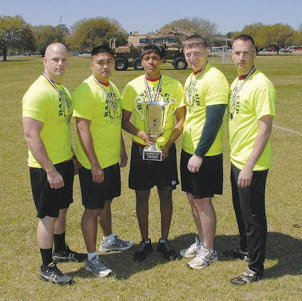 Team SYSCOM pose with their 2013 Daniels Cup Team Challenge trophy at Marine Corps Logistics Base Albany, March 27.