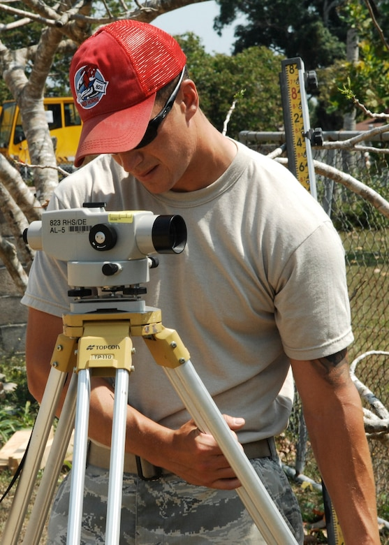 Staff Sgt. Joel Bradley, engineering assistant for the 823rd Red Horse Squadron, ensures an auto level is level while setting it up for a final grade elevation check March 23, 2013, at the construction site of the future Crooked Tree Government Primary School. U.S. and Belizean service members are training and working together to construct various structures at schools throughout Belize as part of an exercise called New Horizons. (U.S. Air Force photo/Master Sgt. James Law)