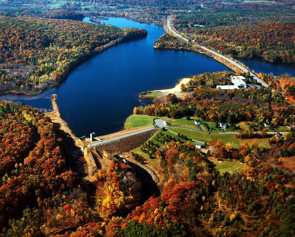 aerial view of East Brimfield Lake located on the Quinebaug River, Sturbridge, MA
