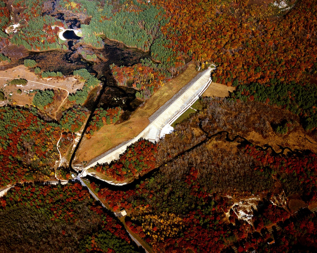 aerial view of West Hill Dam on the West River in Uxbridge, MA