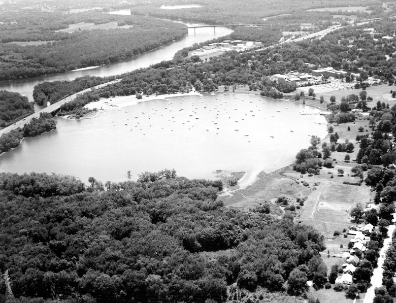 Aerial photograph of Wethersfield Cove on the Connecticut River (Navigation Project).  Photograph was taken in June 1987.