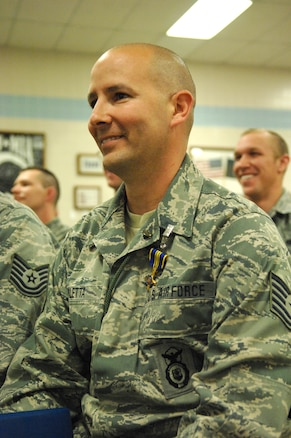 Tech Sgt. Mike Paletta, a Utah Air National Guardsman from the 151st Security Forces Squadron, was awarded the Utah Cross for heroism during a ceremony at the Utah ANG base April 6.
